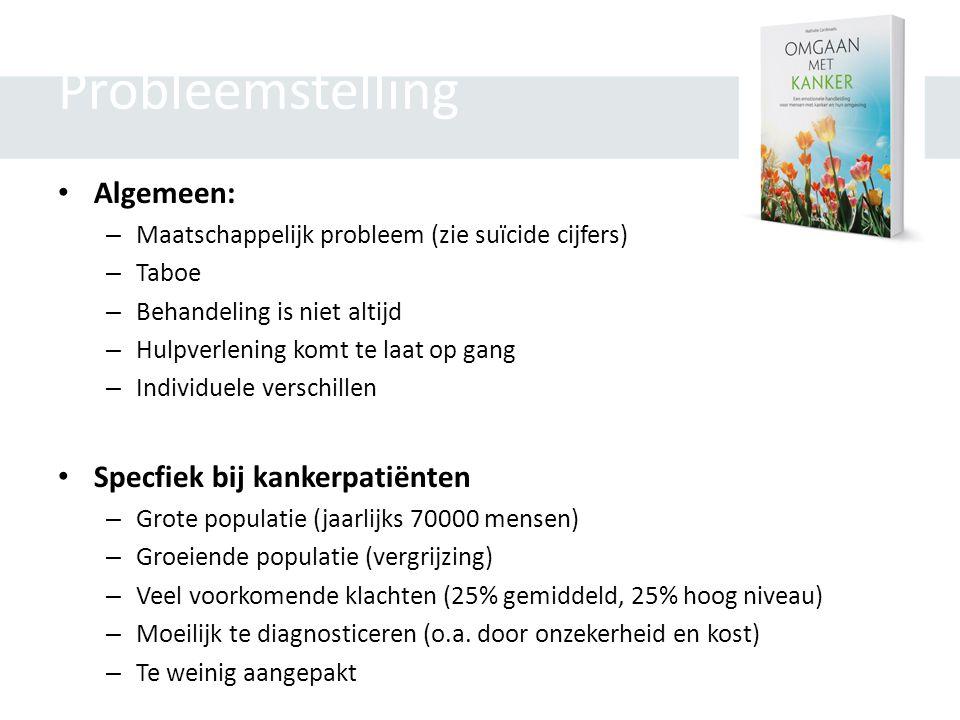 Probleemstelling • Algemeen: – Maatschappelijk probleem (zie suïcide cijfers) – Taboe – Behandeling is niet altijd – Hulpverlening komt te laat op gan