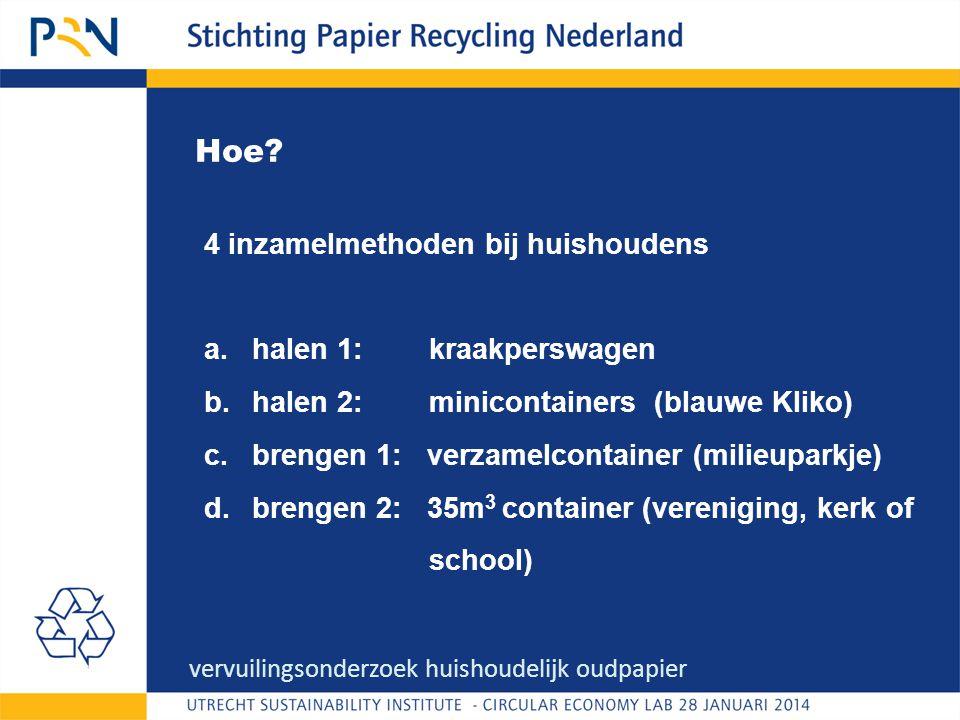 Hoe? vervuilingsonderzoek huishoudelijk oudpapier 4 inzamelmethoden bij huishoudens a.halen 1: kraakperswagen b.halen 2: minicontainers (blauwe Kliko)