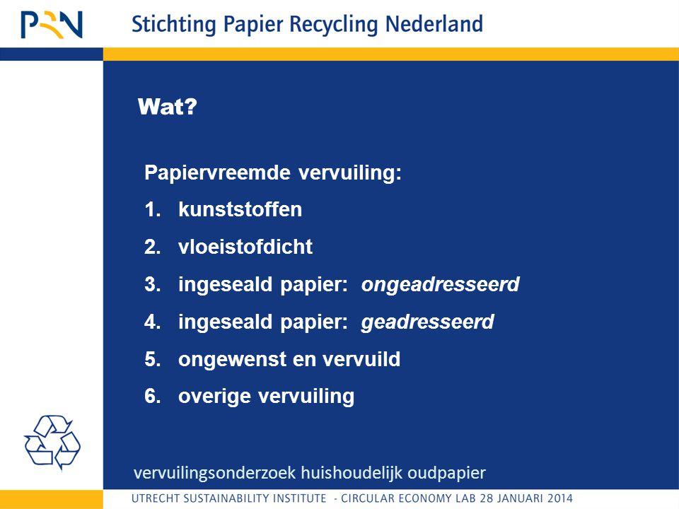 Wat? Papiervreemde vervuiling: 1.kunststoffen 2.vloeistofdicht 3.ingeseald papier: ongeadresseerd 4.ingeseald papier: geadresseerd 5.ongewenst en verv
