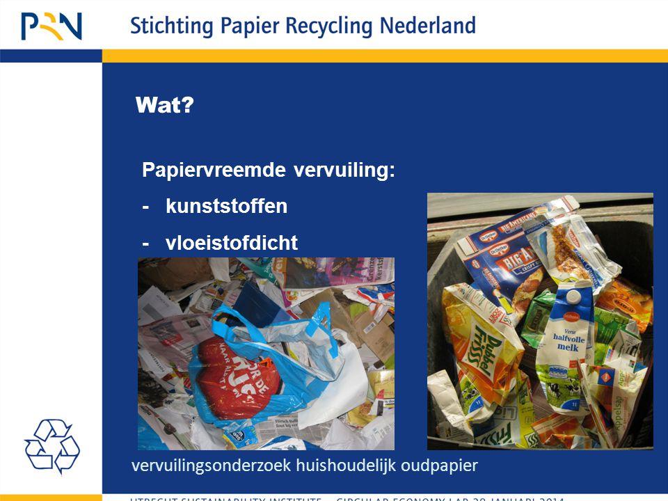 Wat? Papiervreemde vervuiling: - kunststoffen - vloeistofdicht vervuilingsonderzoek huishoudelijk oudpapier