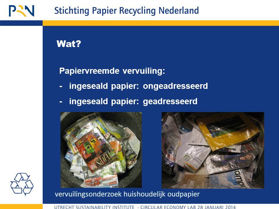 Wat? Papiervreemde vervuiling: - ingeseald papier: ongeadresseerd - ingeseald papier:geadresseerd vervuilingsonderzoek huishoudelijk oudpapier