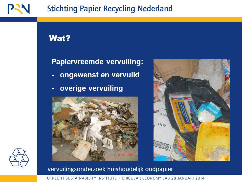 Wat? Papiervreemde vervuiling: - ongewenst en vervuild - overige vervuiling vervuilingsonderzoek huishoudelijk oudpapier