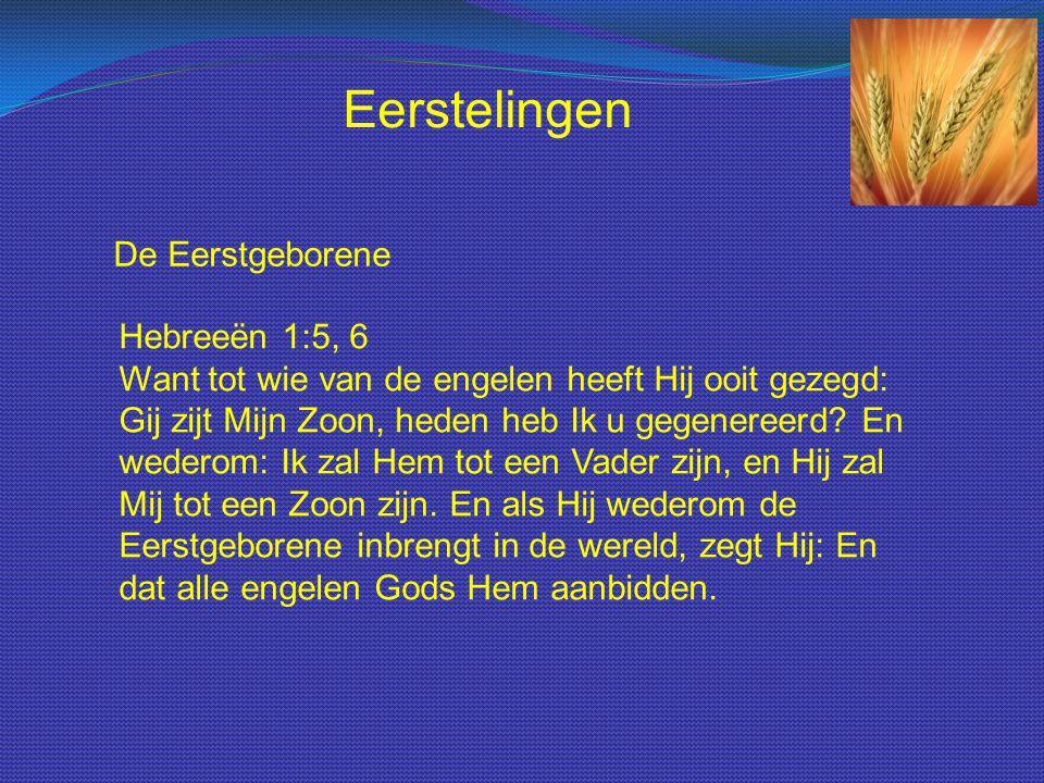 De Eerstgeborene Hebreeën 1:5, 6 Want tot wie van de engelen heeft Hij ooit gezegd: Gij zijt Mijn Zoon, heden heb Ik u gegenereerd? En wederom: Ik zal