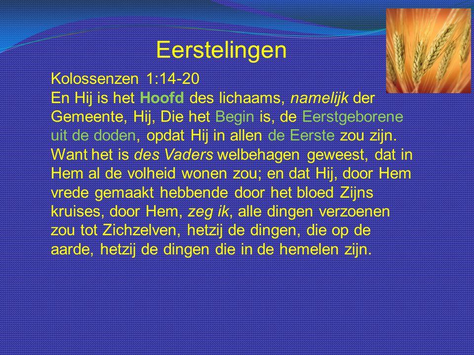 Kolossenzen 1:14-20 En Hij is het Hoofd des lichaams, namelijk der Gemeente, Hij, Die het Begin is, de Eerstgeborene uit de doden, opdat Hij in allen de Eerste zou zijn.
