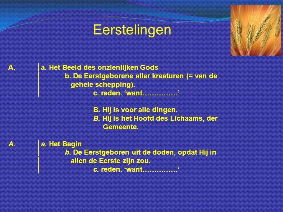 A.│a. Het Beeld des onzienlijken Gods │b. De Eerstgeborene aller kreaturen (= van de │ gehele schepping). │c. reden. 'want……………' B. Hij is voor alle d