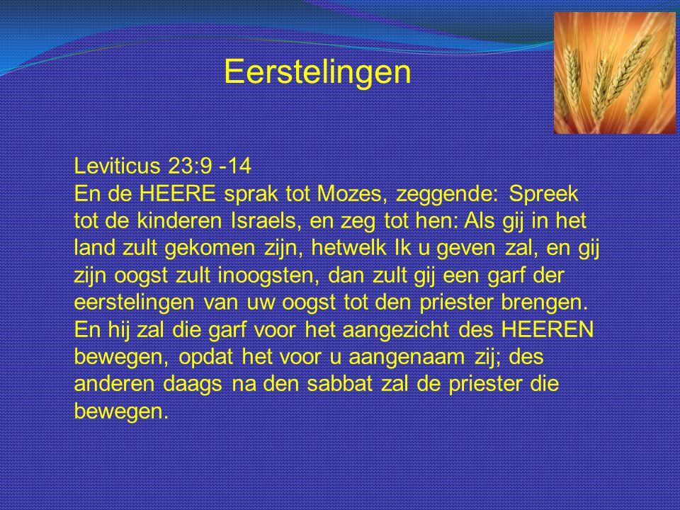 Leviticus 23:9 -14 En de HEERE sprak tot Mozes, zeggende: Spreek tot de kinderen Israels, en zeg tot hen: Als gij in het land zult gekomen zijn, hetwelk Ik u geven zal, en gij zijn oogst zult inoogsten, dan zult gij een garf der eerstelingen van uw oogst tot den priester brengen.