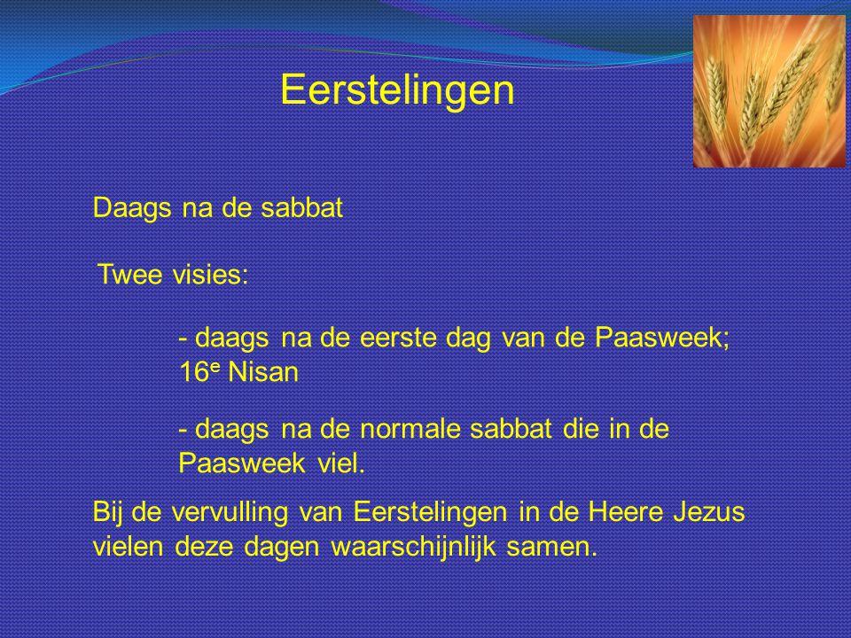 Daags na de sabbat Twee visies: Eerstelingen - daags na de eerste dag van de Paasweek; 16 e Nisan - daags na de normale sabbat die in de Paasweek viel