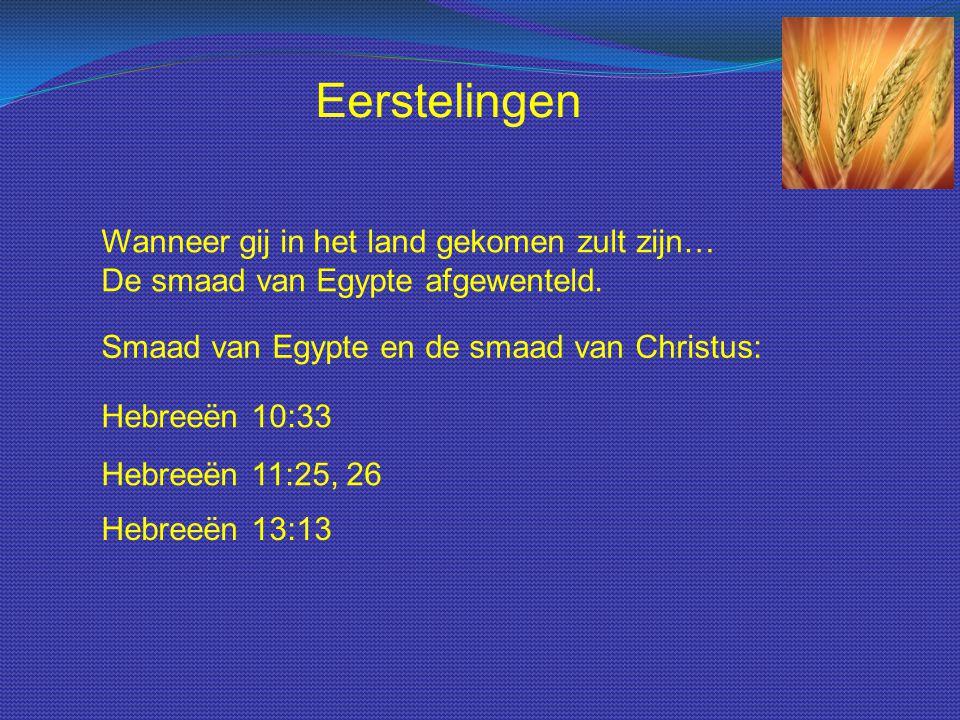 Wanneer gij in het land gekomen zult zijn… De smaad van Egypte afgewenteld. Eerstelingen Smaad van Egypte en de smaad van Christus: Hebreeën 10:33 Heb