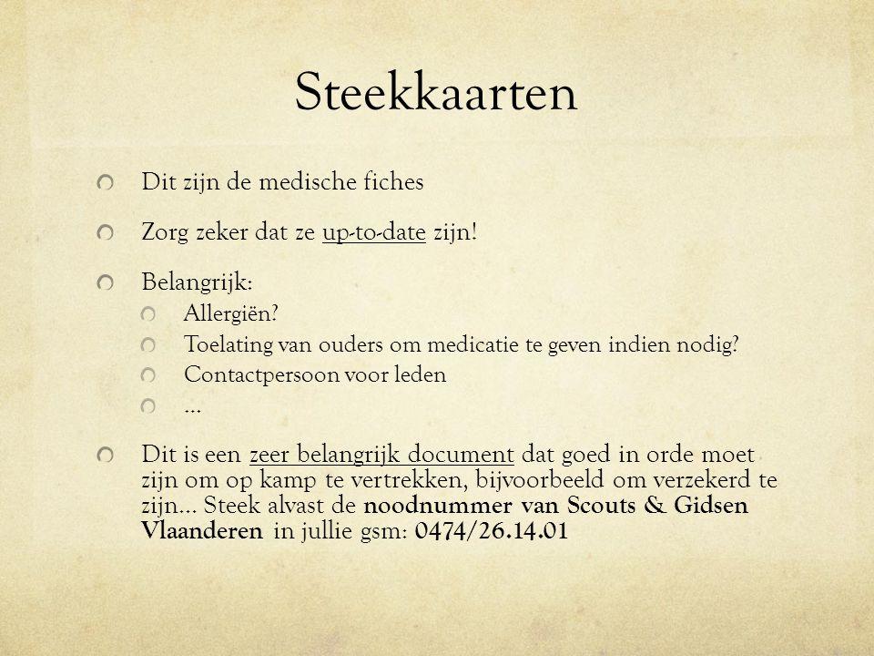 Steekkaarten Dit zijn de medische fiches Zorg zeker dat ze up-to-date zijn.