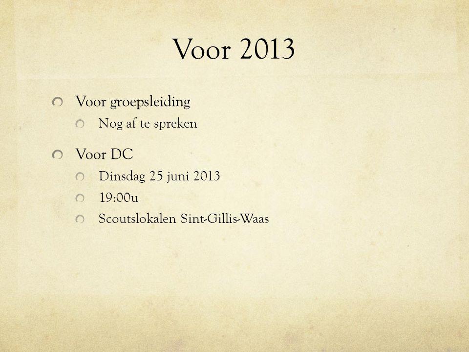Voor 2013 Voor groepsleiding Nog af te spreken Voor DC Dinsdag 25 juni 2013 19:00u Scoutslokalen Sint-Gillis-Waas