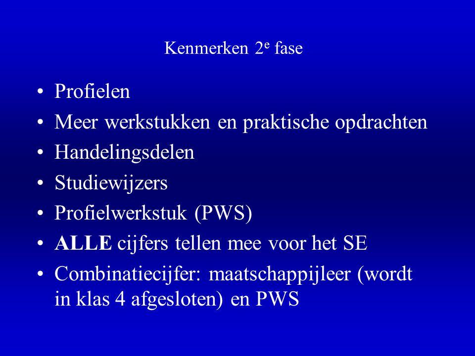 Kenmerken 2 e fase •P•Profielen •M•Meer werkstukken en praktische opdrachten •H•Handelingsdelen •S•Studiewijzers •P•Profielwerkstuk (PWS) •A•ALLE cijfers tellen mee voor het SE •C•Combinatiecijfer: maatschappijleer (wordt in klas 4 afgesloten) en PWS