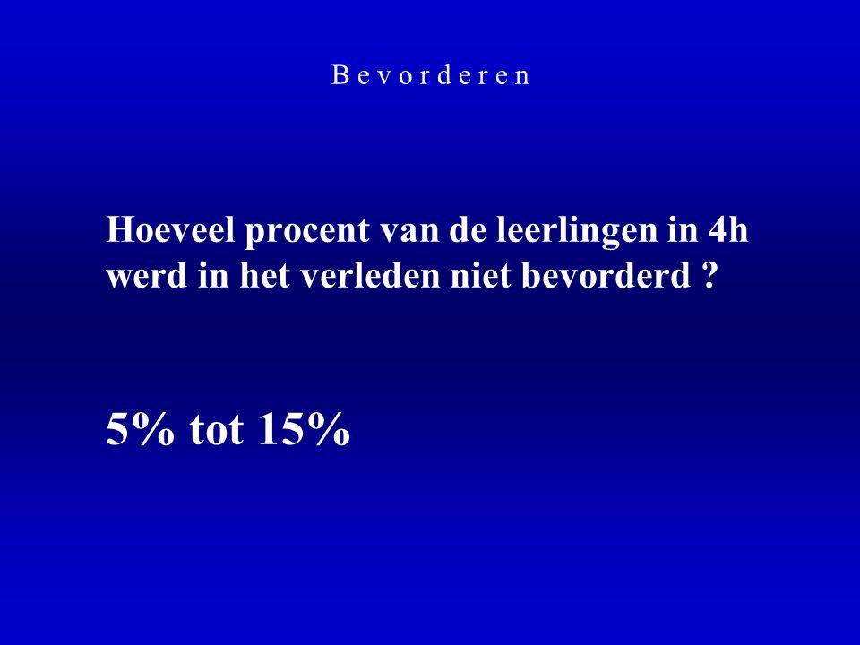 B e v o r d e r e n Hoeveel procent van de leerlingen in 4h werd in het verleden niet bevorderd ? 5% tot 15%