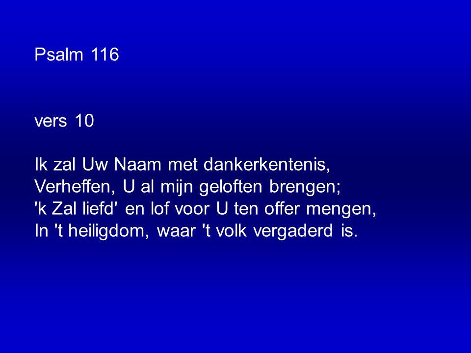 Psalm 116 vers 10 Ik zal Uw Naam met dankerkentenis, Verheffen, U al mijn geloften brengen; k Zal liefd en lof voor U ten offer mengen, In t heiligdom, waar t volk vergaderd is.