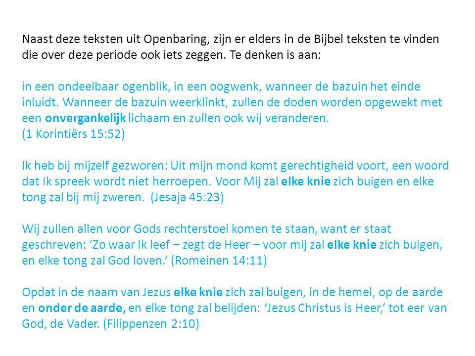 Naast deze teksten uit Openbaring, zijn er elders in de Bijbel teksten te vinden die over deze periode ook iets zeggen. Te denken is aan: in een ondee