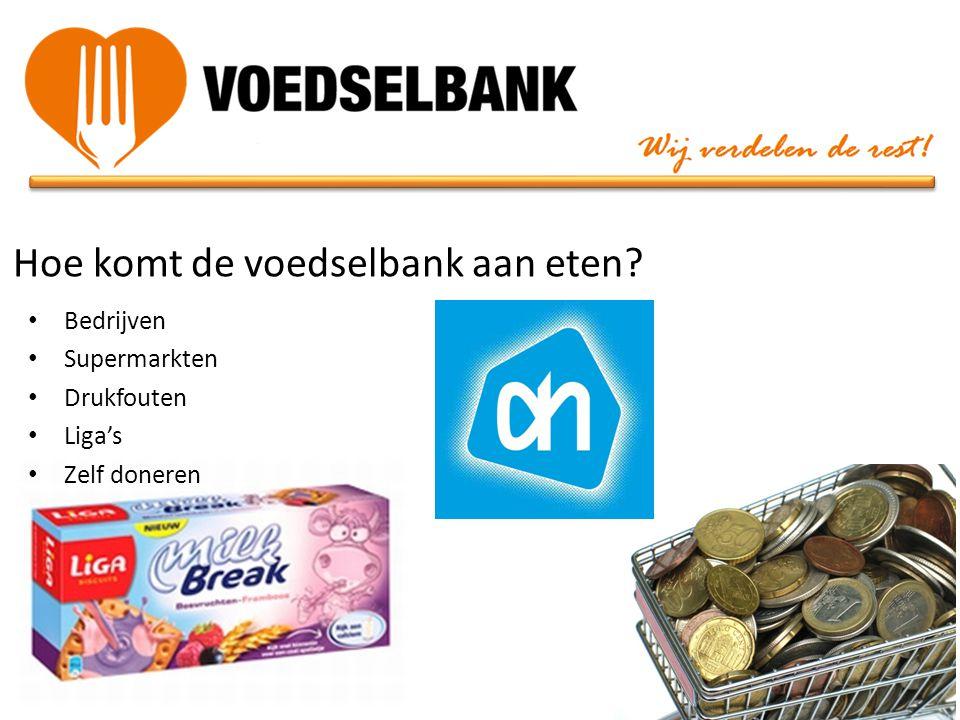 Hoe komt de voedselbank aan eten? • Bedrijven • Supermarkten • Drukfouten • Liga's • Zelf doneren