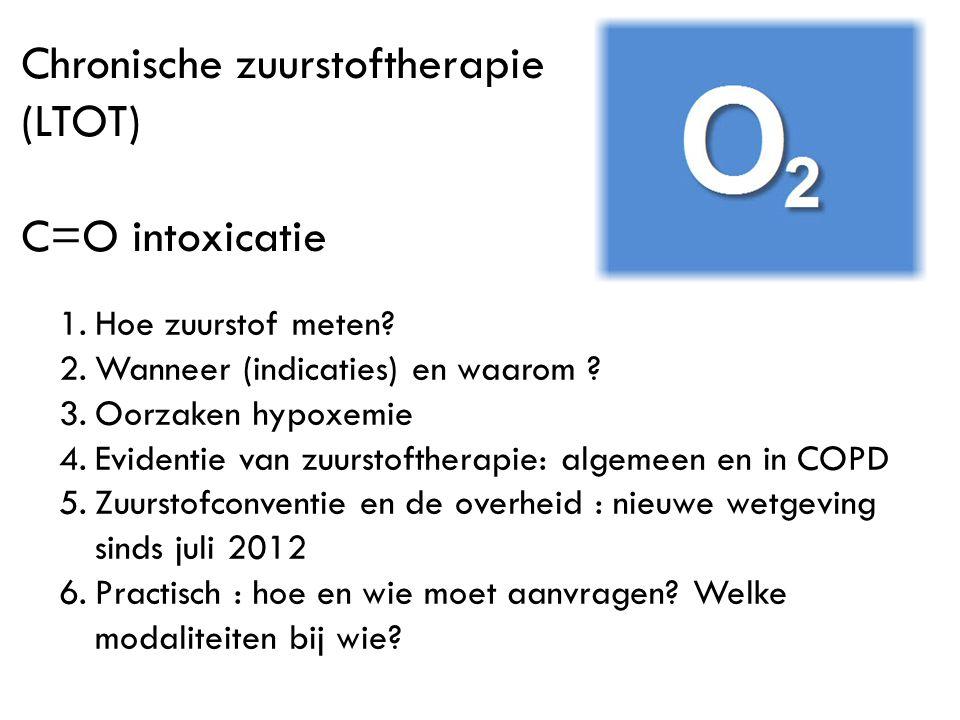 Chronische zuurstoftherapie (LTOT) C=O intoxicatie 1.Hoe zuurstof meten? 2.Wanneer (indicaties) en waarom ? 3.Oorzaken hypoxemie 4.Evidentie van zuurs