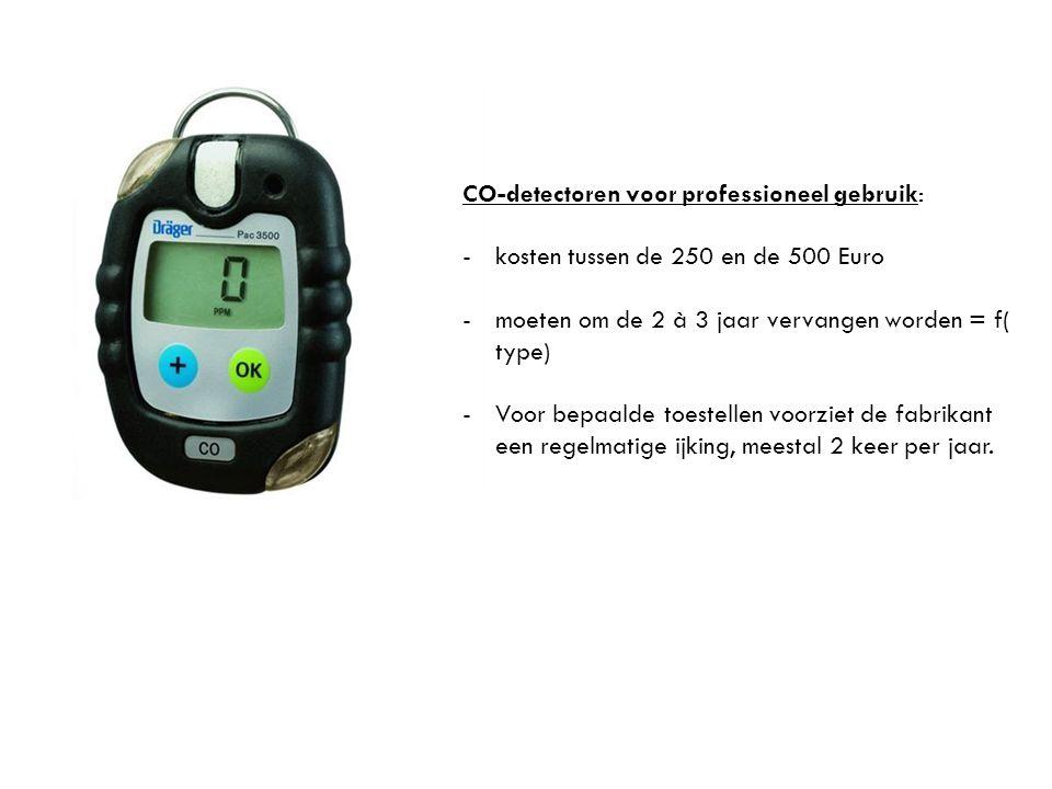 CO-detectoren voor professioneel gebruik: -kosten tussen de 250 en de 500 Euro -moeten om de 2 à 3 jaar vervangen worden = f( type) -Voor bepaalde toe