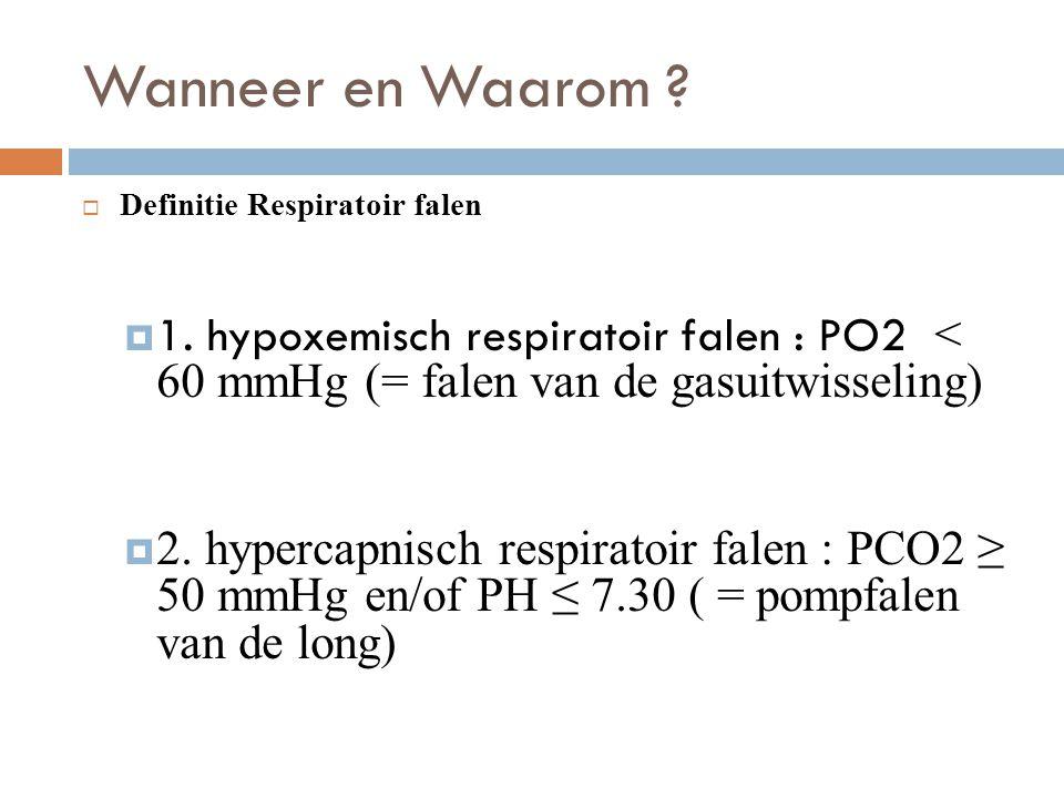 Wanneer en Waarom ?  Definitie Respiratoir falen  1. hypoxemisch respiratoir falen : PO2 < 60 mmHg (= falen van de gasuitwisseling)  2. hypercapnis