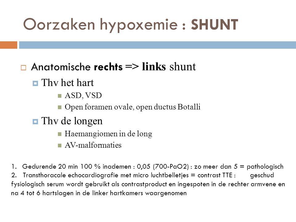 Oorzaken hypoxemie : SHUNT  Anatomische rechts => links shunt  Thv het hart  ASD, VSD  Open foramen ovale, open ductus Botalli  Thv de longen  H