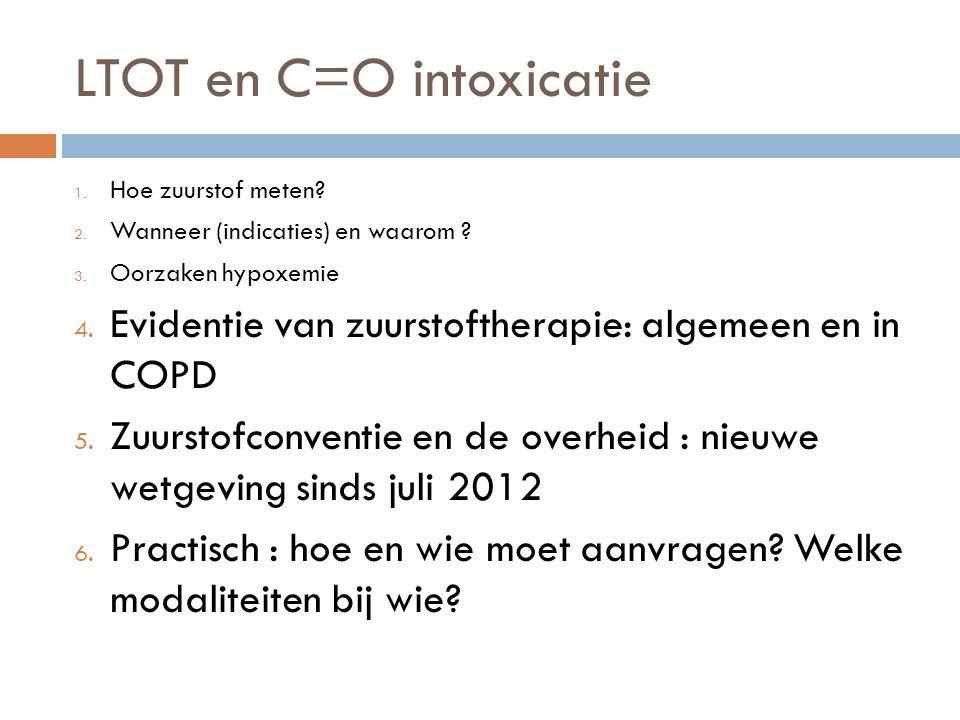 LTOT en C=O intoxicatie 1. Hoe zuurstof meten? 2. Wanneer (indicaties) en waarom ? 3. Oorzaken hypoxemie 4. Evidentie van zuurstoftherapie: algemeen e