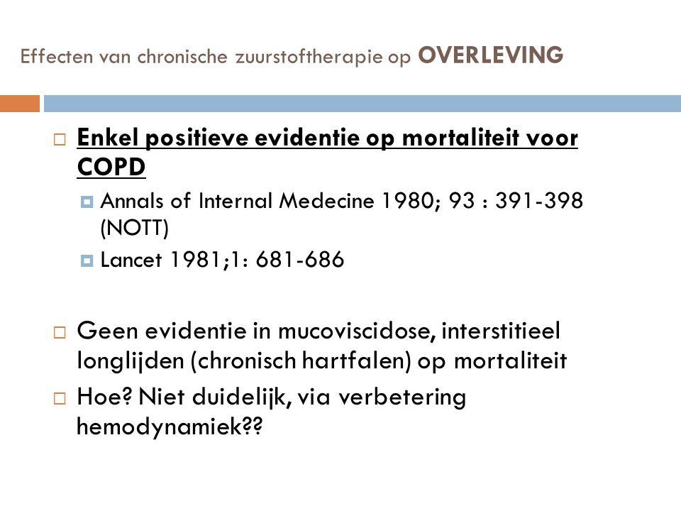 Effecten van chronische zuurstoftherapie op OVERLEVING  Enkel positieve evidentie op mortaliteit voor COPD  Annals of Internal Medecine 1980; 93 : 3