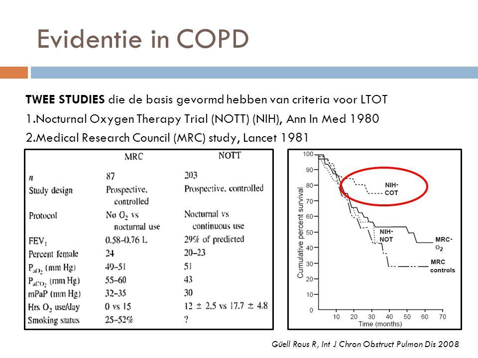 TWEE STUDIES die de basis gevormd hebben van criteria voor LTOT 1.Nocturnal Oxygen Therapy Trial (NOTT) (NIH), Ann In Med 1980 2.Medical Research Coun