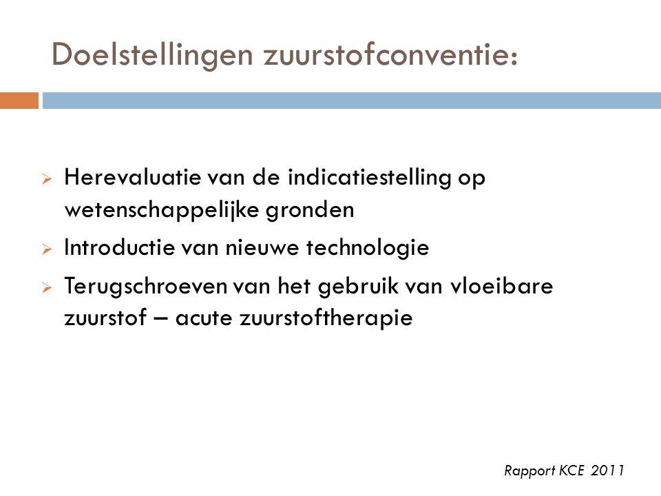 Doelstellingen zuurstofconventie:  Herevaluatie van de indicatiestelling op wetenschappelijke gronden  Introductie van nieuwe technologie  Terugsch
