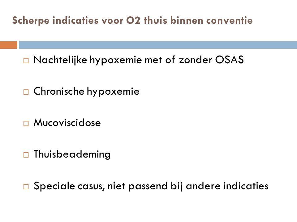Scherpe indicaties voor O2 thuis binnen conventie  Nachtelijke hypoxemie met of zonder OSAS  Chronische hypoxemie  Mucoviscidose  Thuisbeademing 