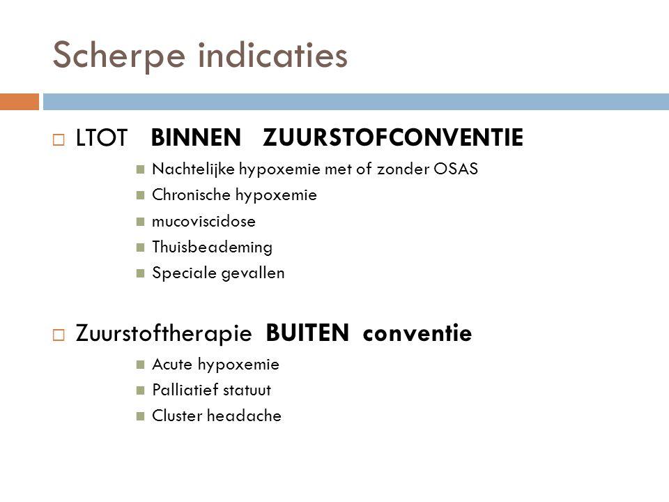 Scherpe indicaties  LTOT BINNEN ZUURSTOFCONVENTIE  Nachtelijke hypoxemie met of zonder OSAS  Chronische hypoxemie  mucoviscidose  Thuisbeademing