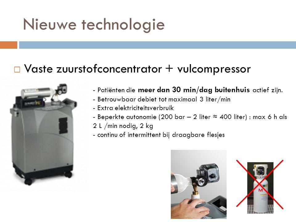  Vaste zuurstofconcentrator + vulcompressor - Patiënten die meer dan 30 min/dag buitenhuis actief zijn. - Betrouwbaar debiet tot maximaal 3 liter/min