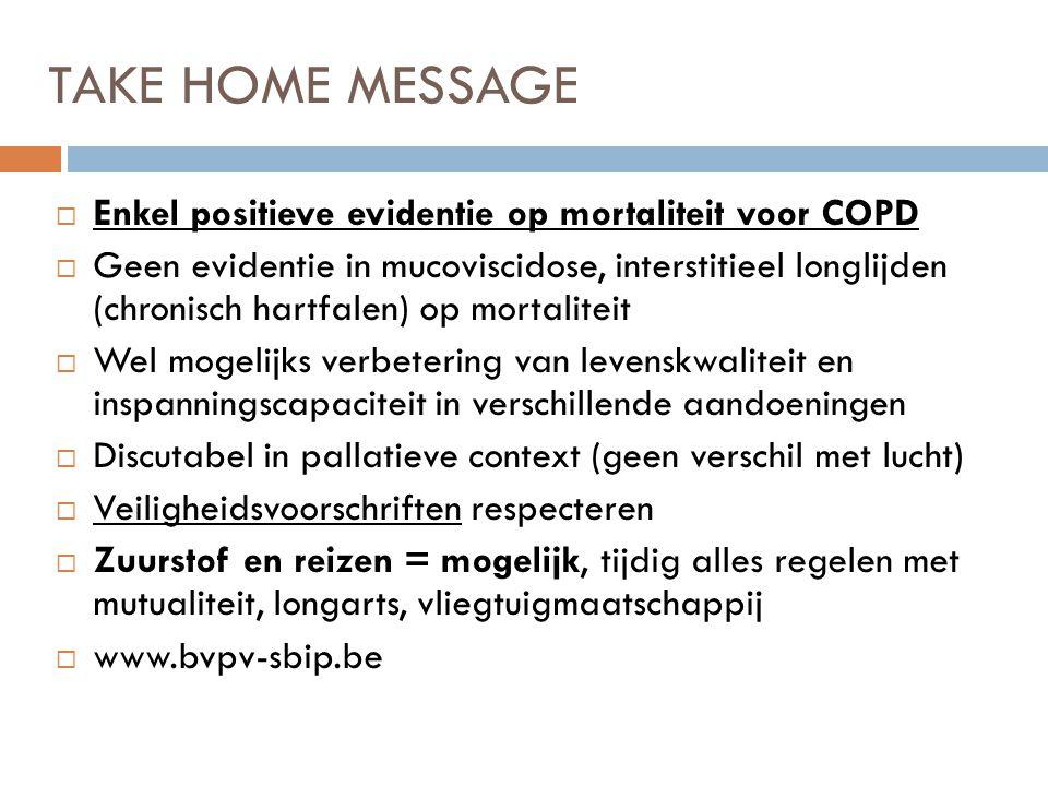 TAKE HOME MESSAGE  Enkel positieve evidentie op mortaliteit voor COPD  Geen evidentie in mucoviscidose, interstitieel longlijden (chronisch hartfale
