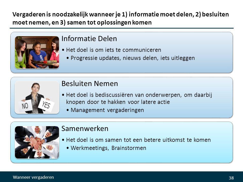 38 Vergaderen is noodzakelijk wanneer je 1) informatie moet delen, 2) besluiten moet nemen, en 3) samen tot oplossingen komen Informatie Delen •Het doel is om iets te communiceren •Progressie updates, nieuws delen, iets uitleggen Besluiten Nemen •Het doel is bediscussiëren van onderwerpen, om daarbij knopen door te hakken voor latere actie •Management vergaderingen Samenwerken •Het doel is om samen tot een betere uitkomst te komen •Werkmeetings, Brainstormen Wanneer vergaderen