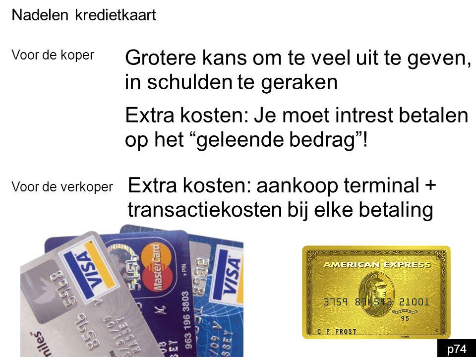 Nadelen kredietkaart Extra kosten: aankoop terminal + transactiekosten bij elke betaling Voor de verkoper Voor de koper Grotere kans om te veel uit te