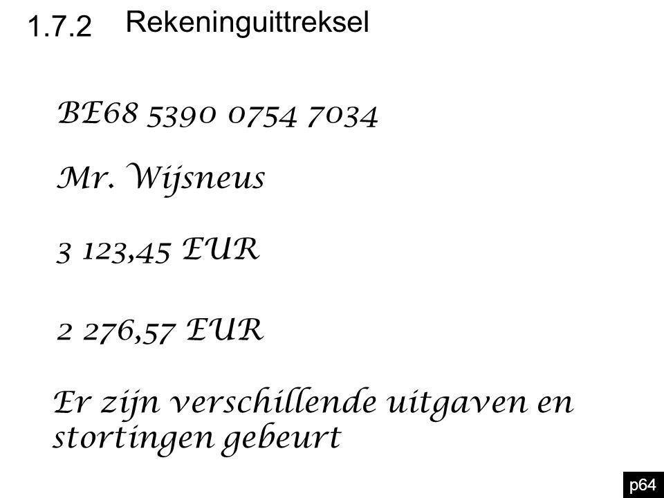 1.7.2 Rekeninguittreksel p64 BE68 5390 0754 7034 Mr. Wijsneus 3 123,45 EUR 2 276,57 EUR Er zijn verschillende uitgaven en stortingen gebeurt