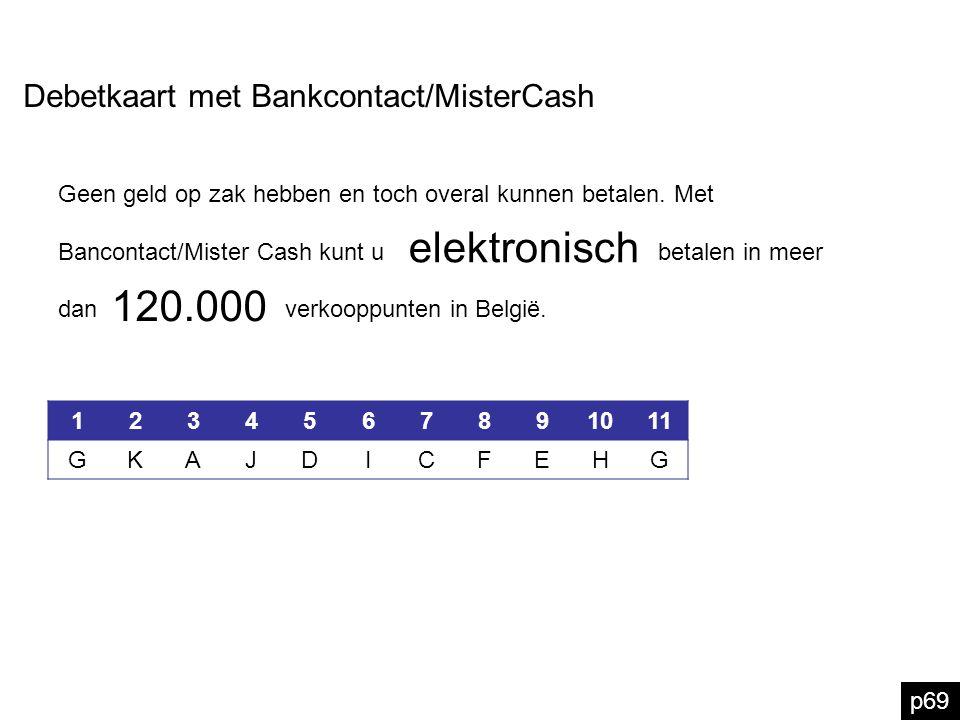 p69 Debetkaart met Bankcontact/MisterCash elektronisch Geen geld op zak hebben en toch overal kunnen betalen. Met Bancontact/Mister Cash kunt u betale