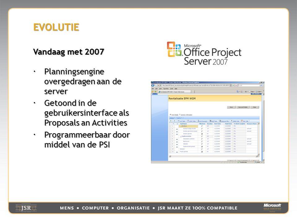 EVOLUTIE Vandaag met 2007  Planningsengine overgedragen aan de server  Getoond in de gebruikersinterface als Proposals an Activities  Programmeerbaar door middel van de PSI