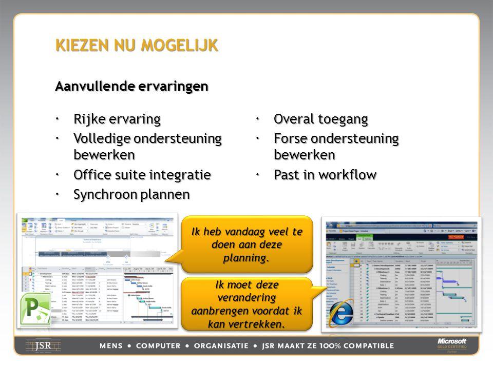 KIEZEN NU MOGELIJK Aanvullende ervaringen  Rijke ervaring  Volledige ondersteuning bewerken  Office suite integratie  Synchroon plannen  Overal toegang  Forse ondersteuning bewerken  Past in workflow