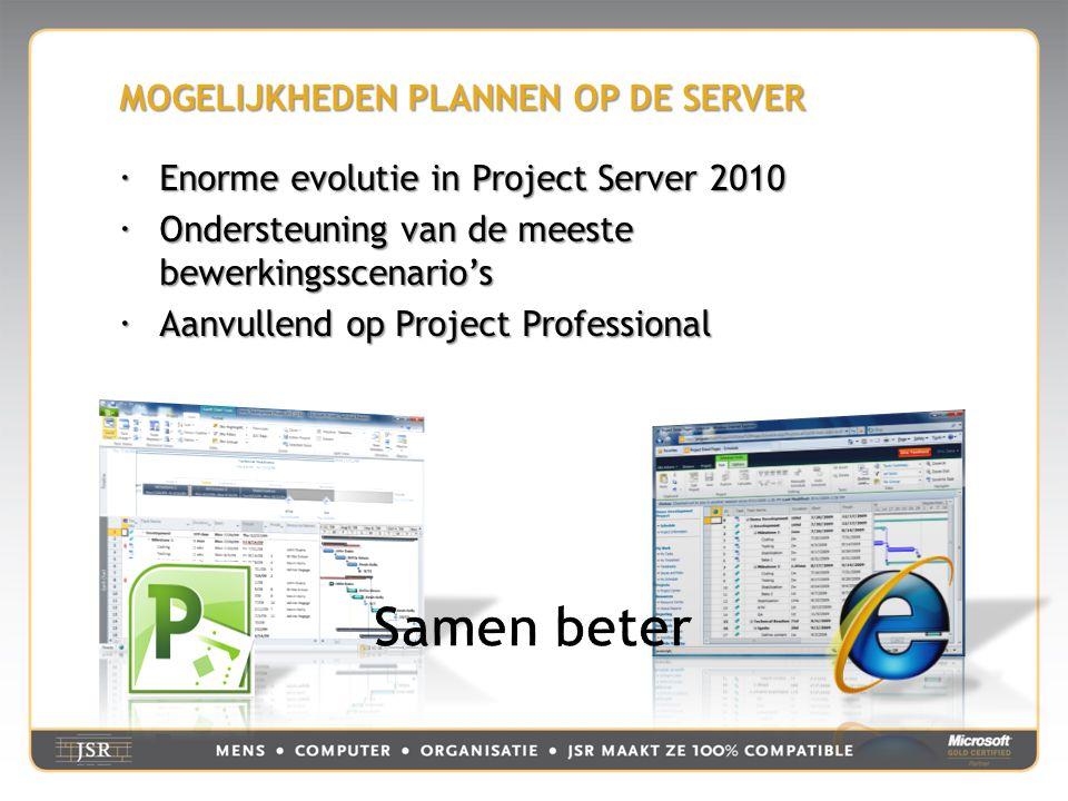 MOGELIJKHEDEN PLANNEN OP DE SERVER  Enorme evolutie in Project Server 2010  Ondersteuning van de meeste bewerkingsscenario's  Aanvullend op Project Professional