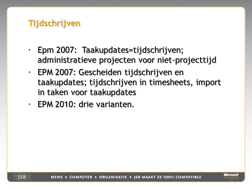 Tijdschrijven  Epm 2007: Taakupdates=tijdschrijven; administratieve projecten voor niet-projecttijd  EPM 2007: Gescheiden tijdschrijven en taakupdates; tijdschrijven in timesheets, import in taken voor taakupdates  EPM 2010: drie varianten.