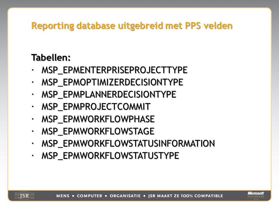 Reporting database uitgebreid met PPS velden Tabellen:  MSP_EPMENTERPRISEPROJECTTYPE  MSP_EPMOPTIMIZERDECISIONTYPE  MSP_EPMPLANNERDECISIONTYPE  MSP_EPMPROJECTCOMMIT  MSP_EPMWORKFLOWPHASE  MSP_EPMWORKFLOWSTAGE  MSP_EPMWORKFLOWSTATUSINFORMATION  MSP_EPMWORKFLOWSTATUSTYPE