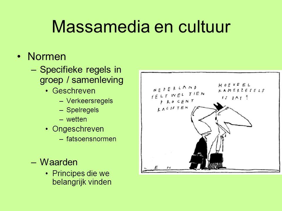Massamedia en cultuur •Normen –Specifieke regels in groep / samenleving •Geschreven –Verkeersregels –Spelregels –wetten •Ongeschreven –fatsoensnormen