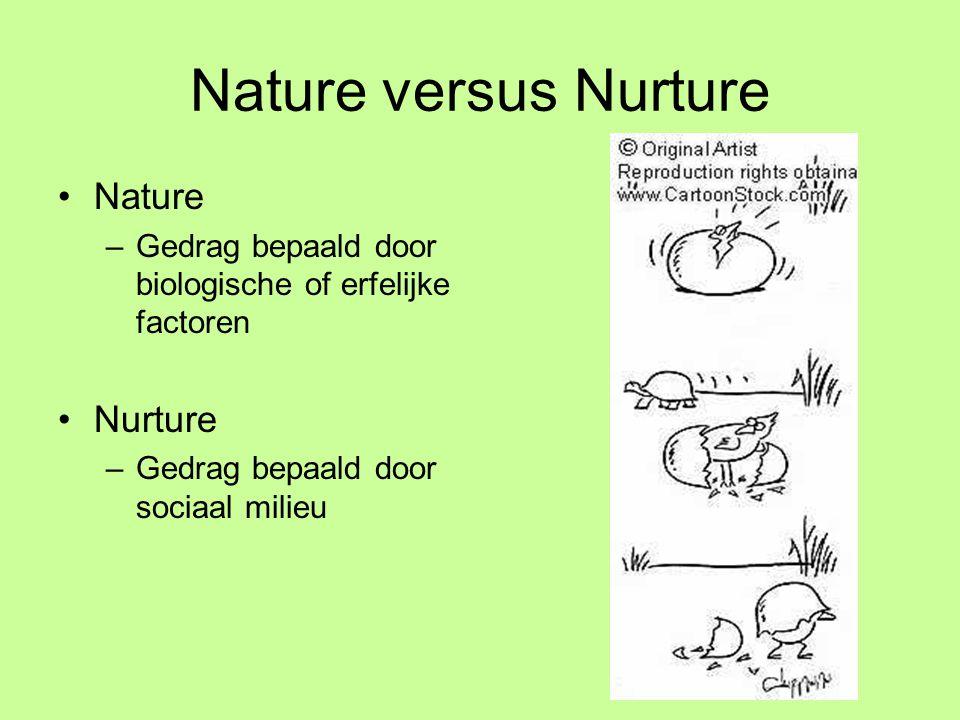Nature versus Nurture •Nature –Gedrag bepaald door biologische of erfelijke factoren •Nurture –Gedrag bepaald door sociaal milieu