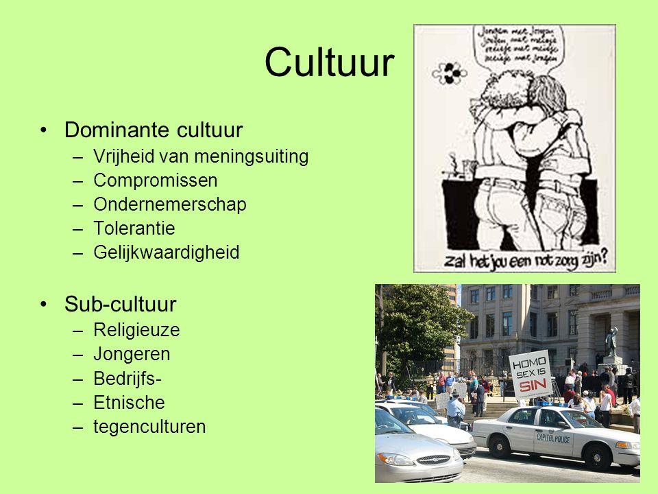 Cultuur •Dominante cultuur –Vrijheid van meningsuiting –Compromissen –Ondernemerschap –Tolerantie –Gelijkwaardigheid •Sub-cultuur –Religieuze –Jongere