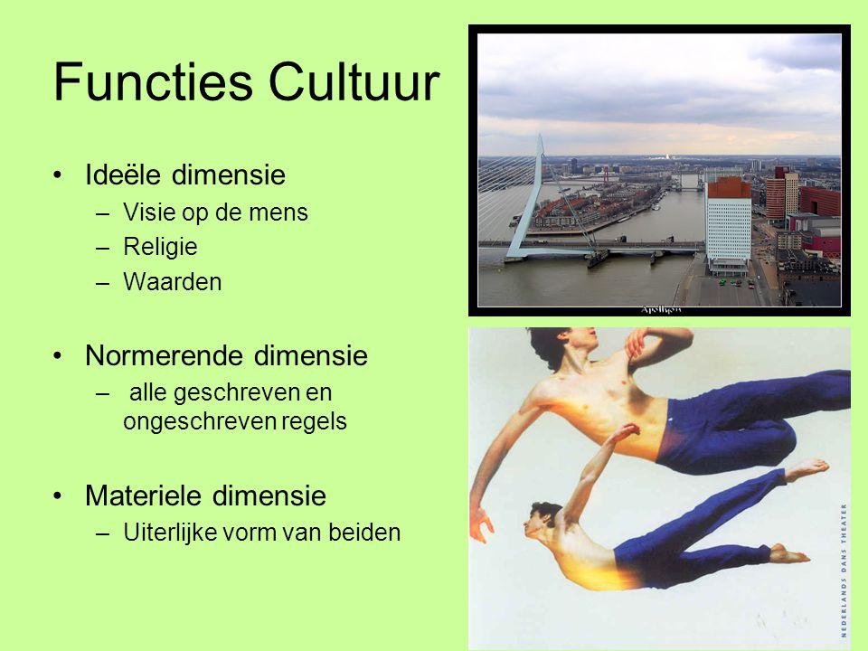 Functies Cultuur •Ideële dimensie –Visie op de mens –Religie –Waarden •Normerende dimensie – alle geschreven en ongeschreven regels •Materiele dimensi