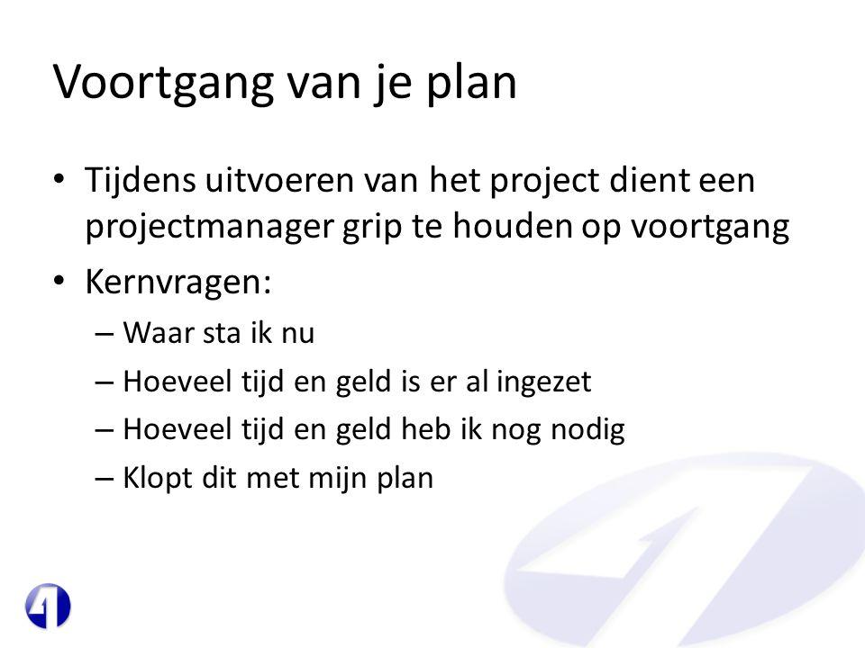 Voortgang van je plan • Tijdens uitvoeren van het project dient een projectmanager grip te houden op voortgang • Kernvragen: – Waar sta ik nu – Hoevee