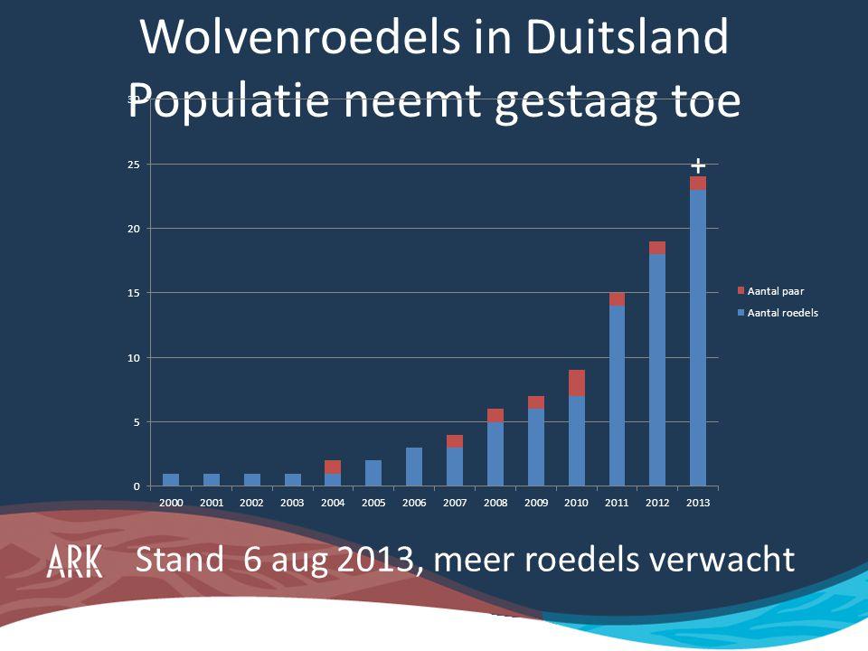 Wolvenroedels in Duitsland Populatie neemt gestaag toe Stand 6 aug 2013, meer roedels verwacht +