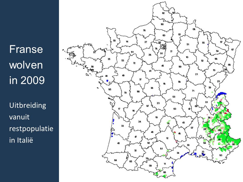 Franse wolven in 2009 Uitbreiding vanuit restpopulatie in Italië