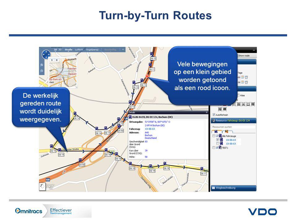 Turn-by-Turn Routes XX-99-XX De werkelijk gereden route wordt duidelijk weergegeven.