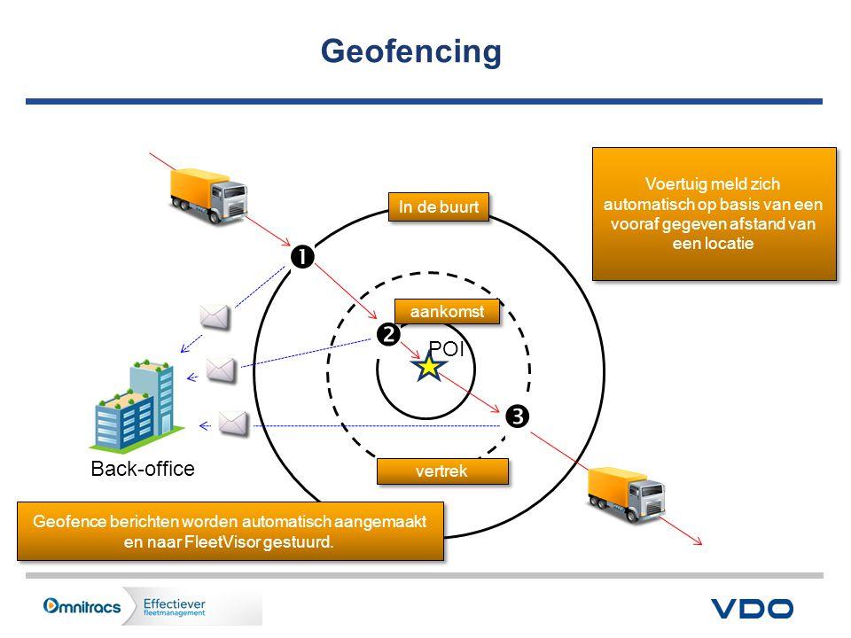 Geofencing POI In de buurt vertrek   aankomst  Back-office Voertuig meld zich automatisch op basis van een vooraf gegeven afstand van een locatie Geofence berichten worden automatisch aangemaakt en naar FleetVisor gestuurd.