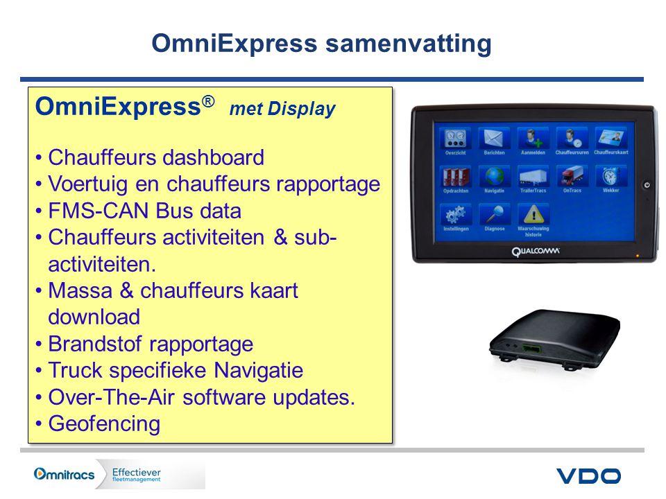 OmniExpress ® met Display •Chauffeurs dashboard •Voertuig en chauffeurs rapportage •FMS-CAN Bus data •Chauffeurs activiteiten & sub- activiteiten.